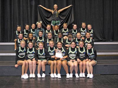 Beautifully perfect: RBHS cheer squad poses with state trophy after competition.