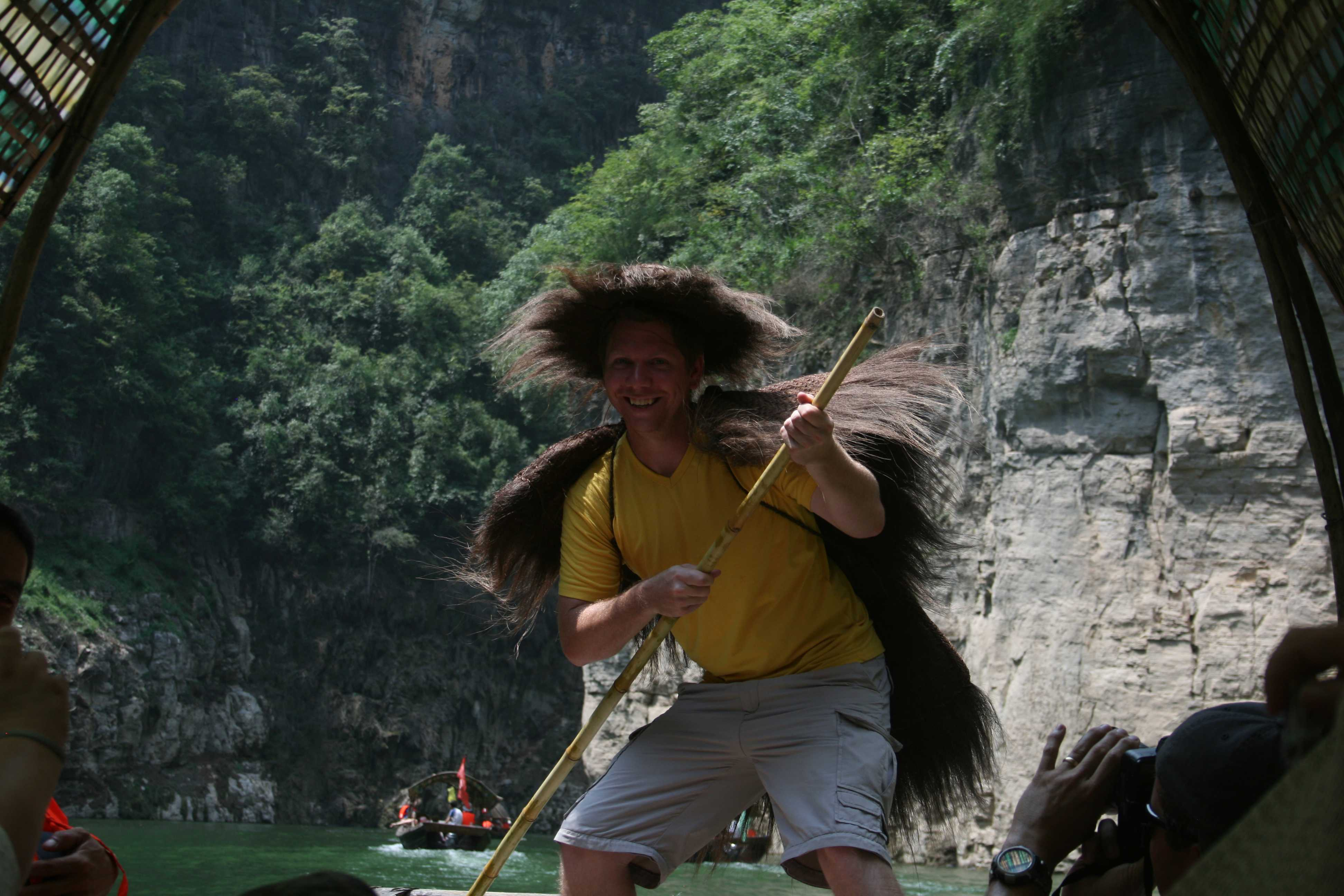 Ware poses for the camera while dressed in fur-like drab on the Yangtze River in China.