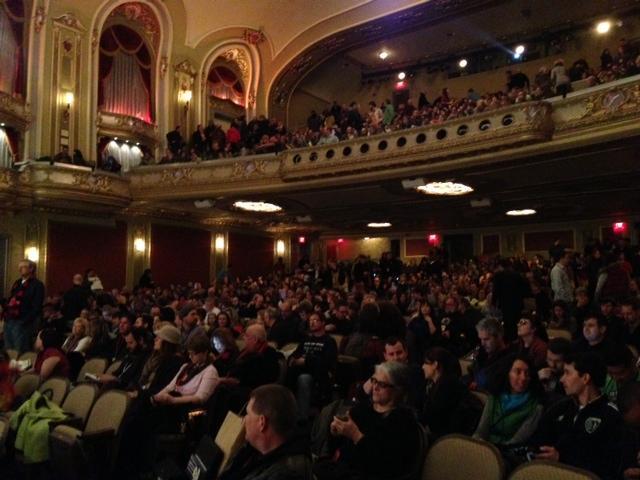 "The Missouri Theatre was packed as viewers scrambled in to watch ""Twenty Feet From Stardom."" Photo by Lauren Puckett."