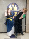 Rock Bridge students Meghan Schwartzkopf, junior, and C.J. Phillips, sophomore compete in the costume competition. The Latin 1 students depict a scene from the Illiad in which Clytemnestra kills her husband, Agamemnon, for sacrificing their daughter to the gods.