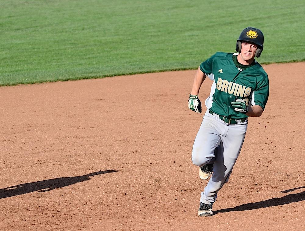Sophomore Joe Barbee races to third base during Rock Bridge's April 25 against Kirksville. Photo by Asa Lory