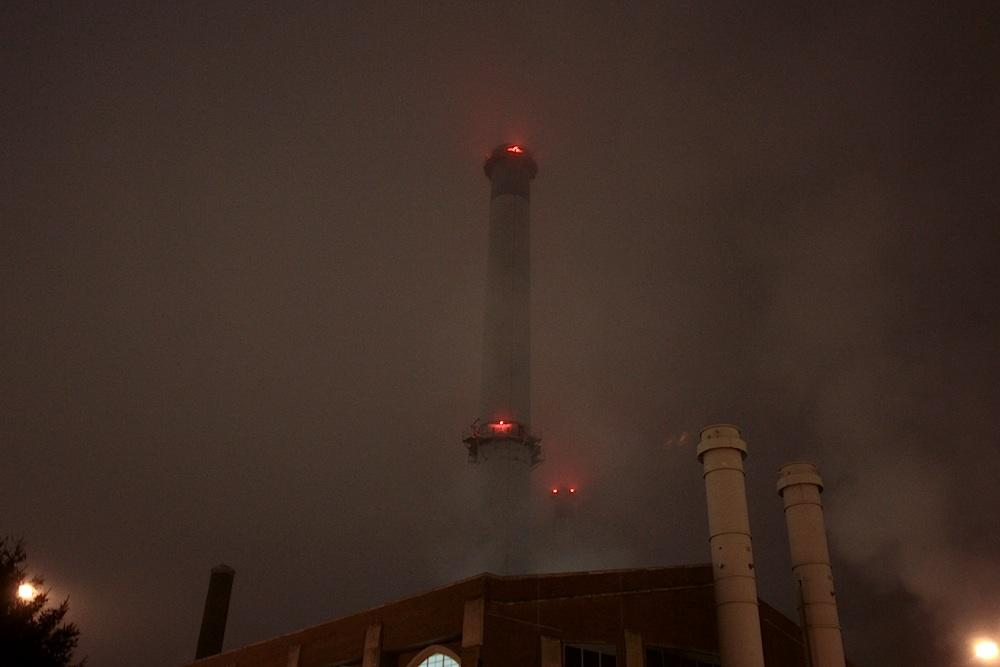 Eight thirty. I pass the power plant, but the eyes on the towers still watch me, slowly blinking red.