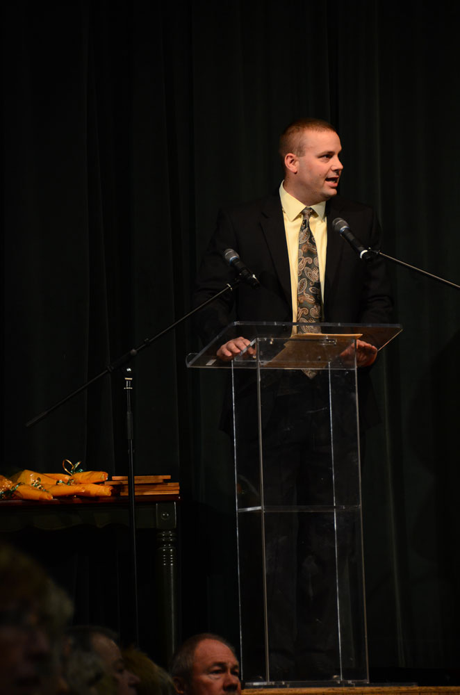 Principal Mark Maus speaks at the Flashback assembly. This assembly is the final of the year for RBHS and the last Maus will preside over as a Bruin. Maus announced last month he will be taking a principal position at Oak Park High School in Kansas City. Photo by Mikaela Acton