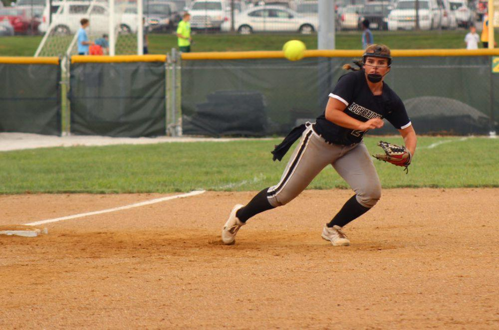 Junior third baseman Ashleigh McKinley hustles to field the ball in order to get an out at first. Photo by Cassidy Viox