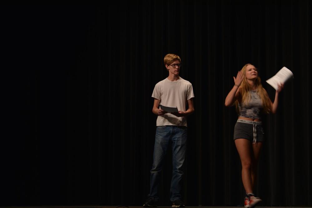 Senior Zach Reichert and Junior Ross Ross Eggener perform their acting auditions.