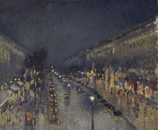"""The Boulevard Montmartre at Night"" by Camille Pissarro. Photo by The National Gallery, London."