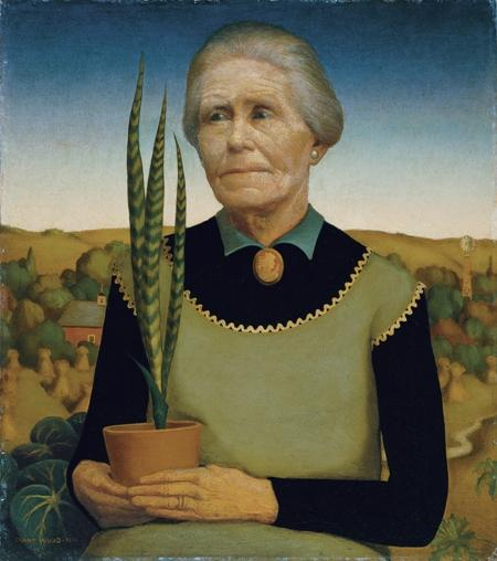 """Woman with Plants"" by Grant Wood. Photo by the Cedar Rapids Museum of Art."
