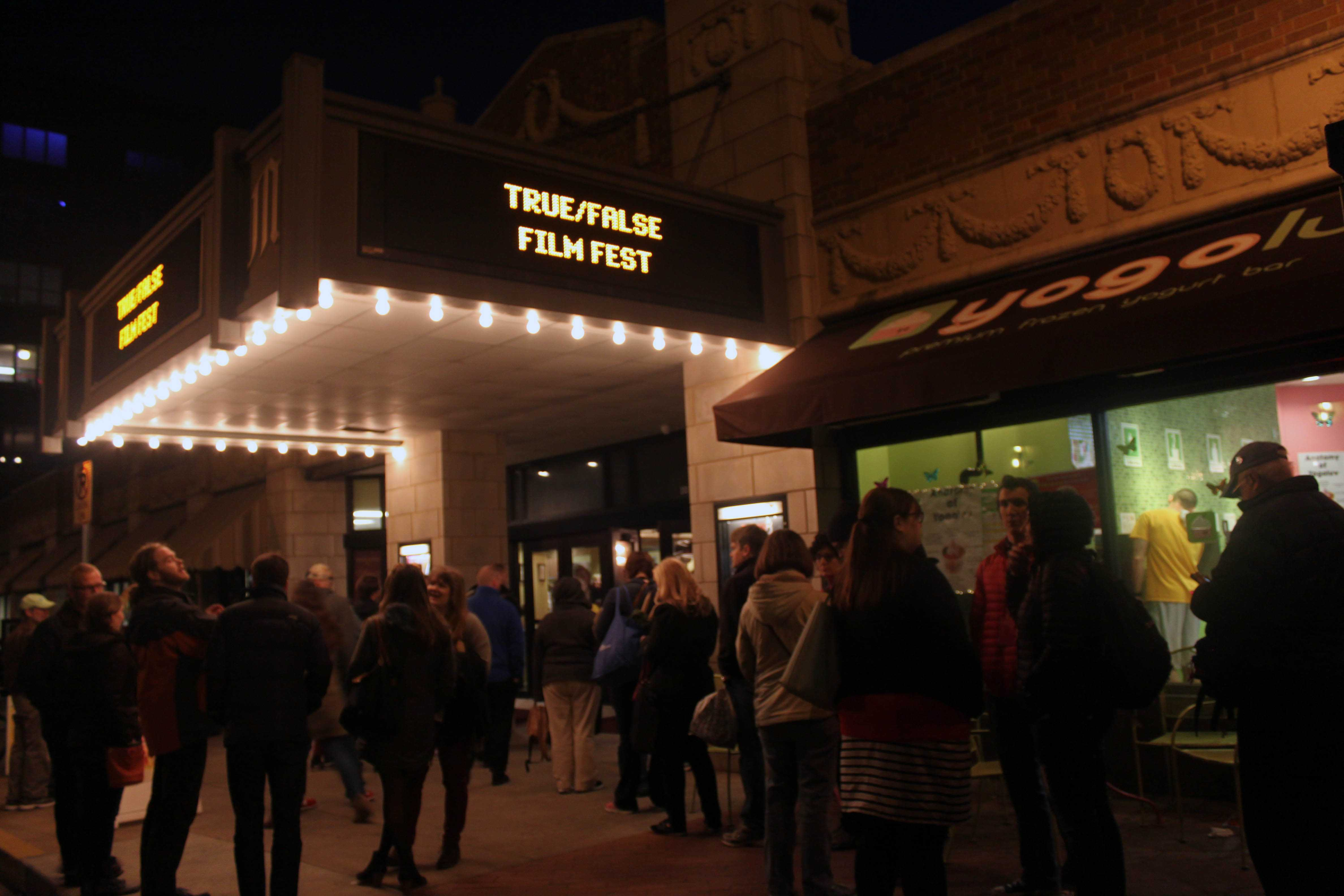 People are queuing to enter the Missouri Theater for Reality Bites, one of the most popular parties of the True/False Film Festival.