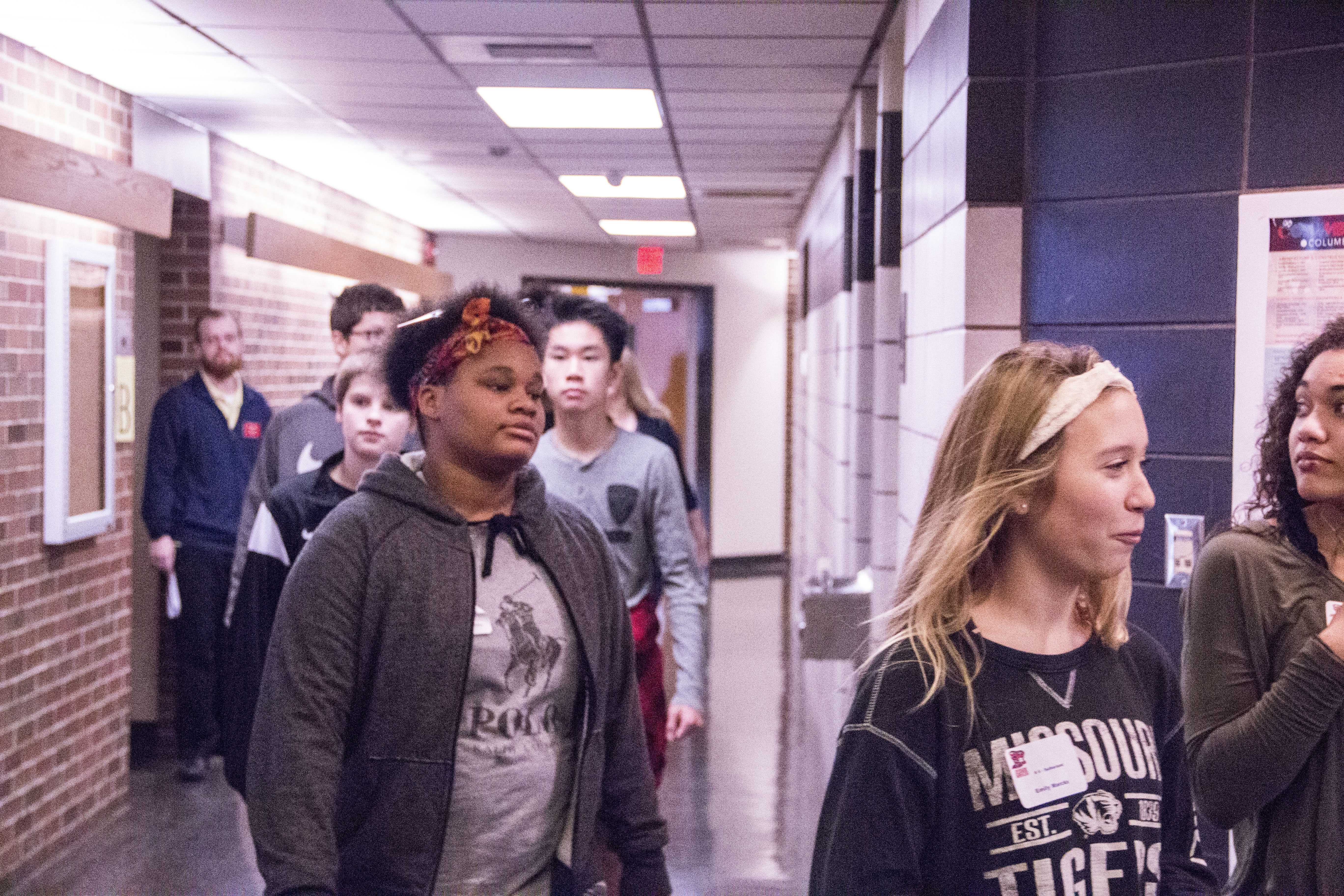 Students walk the halls of the Columbia Area Career Center (CACC) after listening to a demonstration.