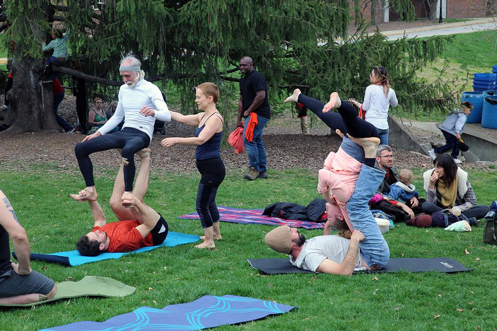 Earth day yoga class takes place in Peace Park.