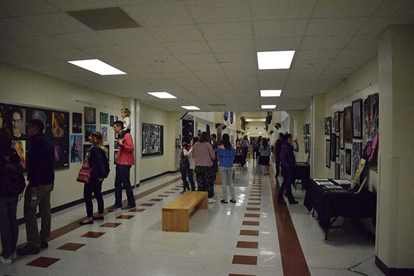 On Sunday, April 22, the art show filled the main hallway.