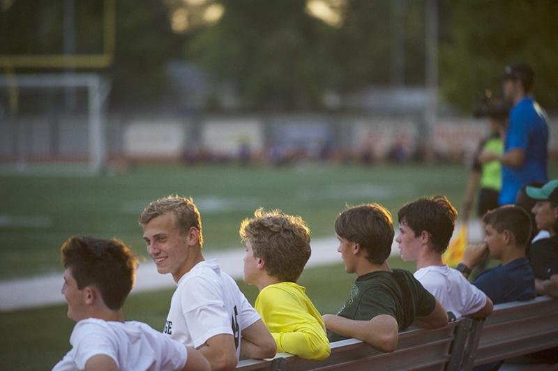 Junior defender Joseph Gard speaks with his teammates during the JV match Sept. 18 at HHS. Unlike the varsity squad, JV came out with a desired outcome. The game ended with a 1-0 score in favor of the Bruins.