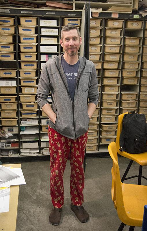 "Art teacher Shannon Blakey wore a pair of red gingerbread men pajama pants to celebrate the days theme.""I thought that since the theme was snow day that pajamas would just be the perfect thing to wear."" Blakey said. Photo by Camryn DeVore"
