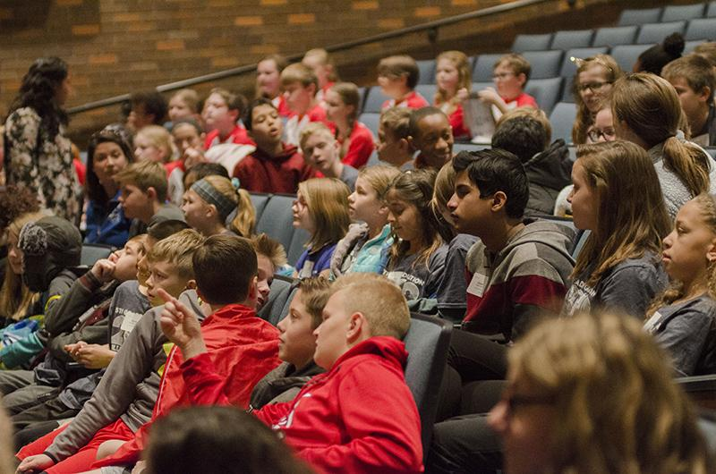 Fifth graders watch the stage in awe even before the performances began. The purpose of the extravaganza was to give fifth grade students exposure to the fine arts programs available to them at RBHS.