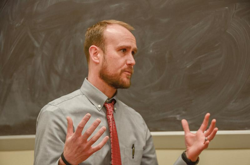 Jacob Sirna, who will be principal here next year, visits RBHS after school March 14. Photo by Allie Pigg