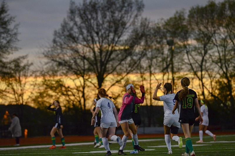 Under the scene of the setting sun, the Chicks celebrate their victory at the sound of the final whistle. Although devastated by the loss, the Bruins will be back in action and ready to compete next week.